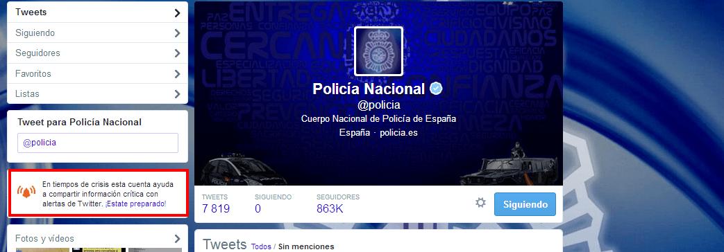 La Policía Nacional mandará avisos de emergencias a través de Twitter Alerts