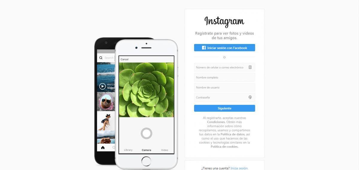 Landing Page ejemplo Instagram
