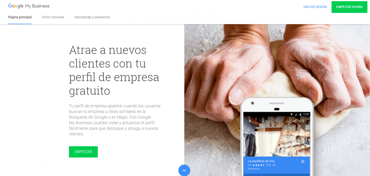Landing Page ejemplo google my business