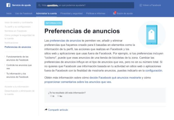 Preferencias Facebook Ads
