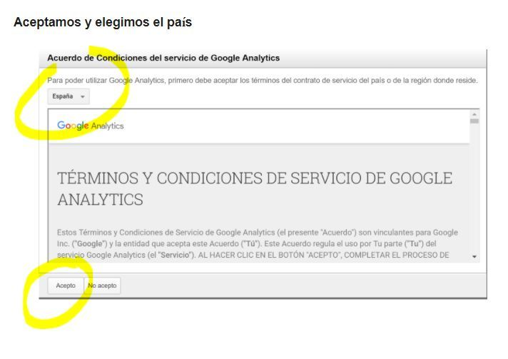 aceptar condiciones Analytics