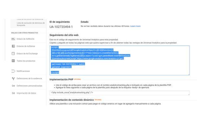 Seguimiento web analytics