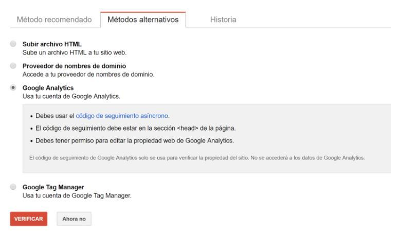 Método alternativo google analytics