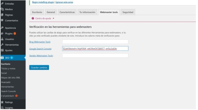 Verificación webmasters