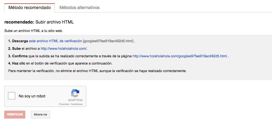 Verificar propiedad en search console con archivo html