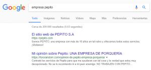 Empresa pepito. Reputación en Google