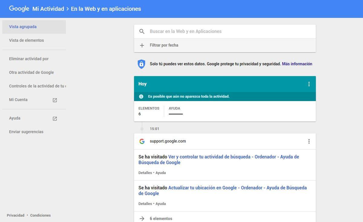 Mi actividad google