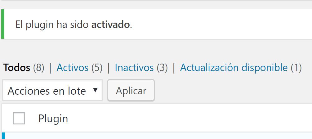 plugin activados