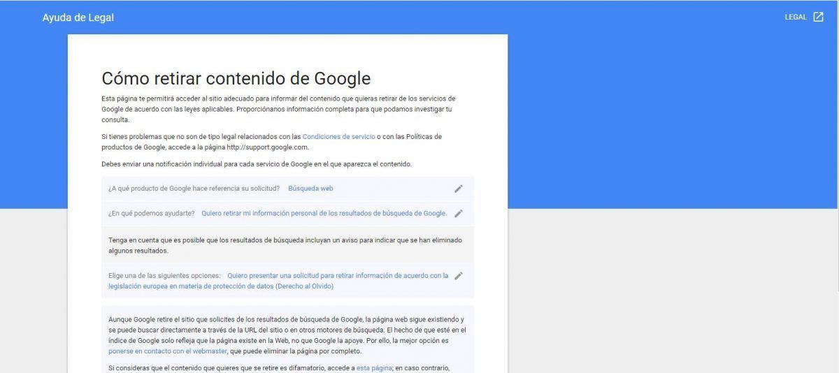 Cómo retirar contenido de Google