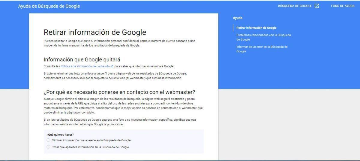 Retirar información de Google