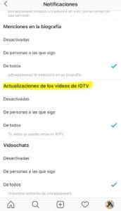 Desactivar notificaciones IGTV