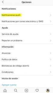 Notificaciones push instagram