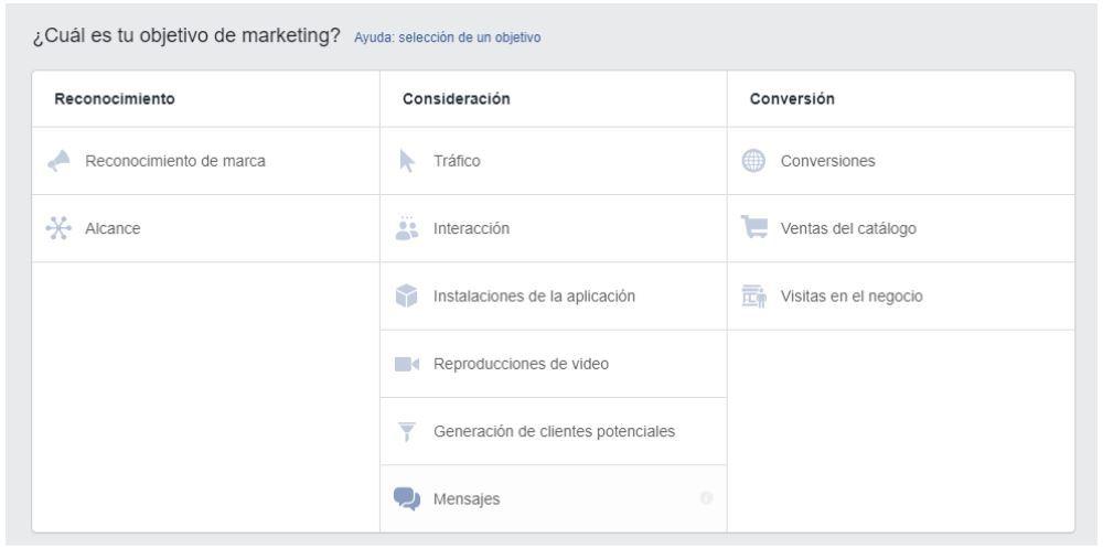 Objetivo campañas facebook