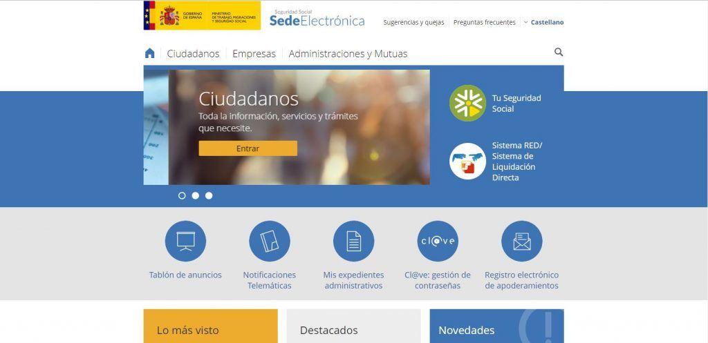 Página principal de la sede electrónica de la seguridad social