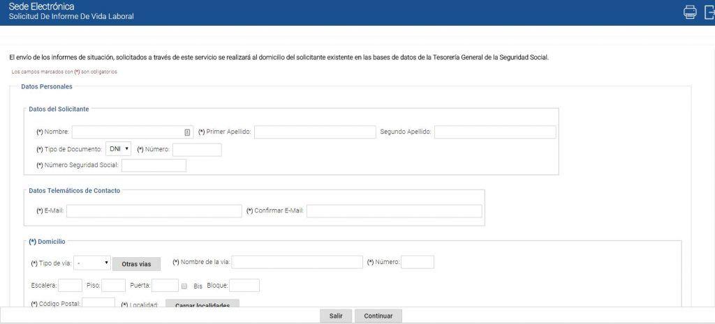 Solicitar informe de vida laboral sin certificado digital