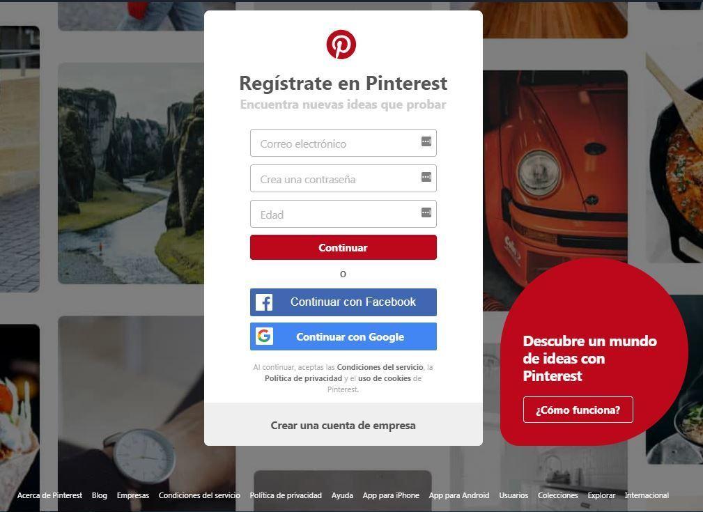crear una cuenta en pinterest