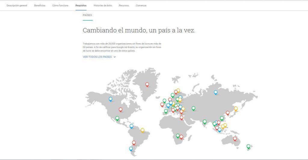 verificar que la organización se encuentra en uno de los países que acepta google grant