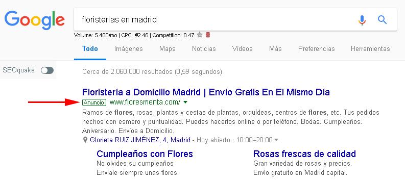 2- ANALISIS DE ESTRATEGIAS PPC EJEMPLO FLORISTERIA EN MADRID