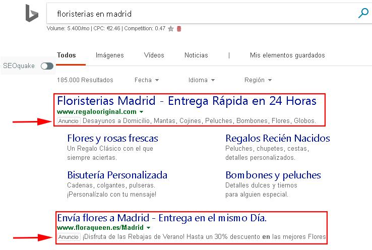 4- EJEMPLO DE CAMPAÑAS DE PPC EN BING